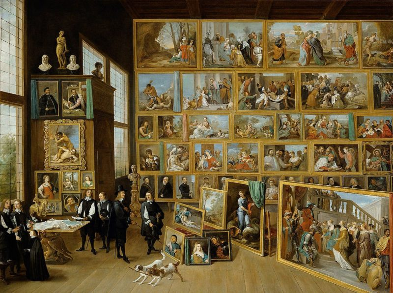 The Archduke Leopold Wilhelm in his Painting Gallery in Brussels (1647-1651) de David Teniers the Younger