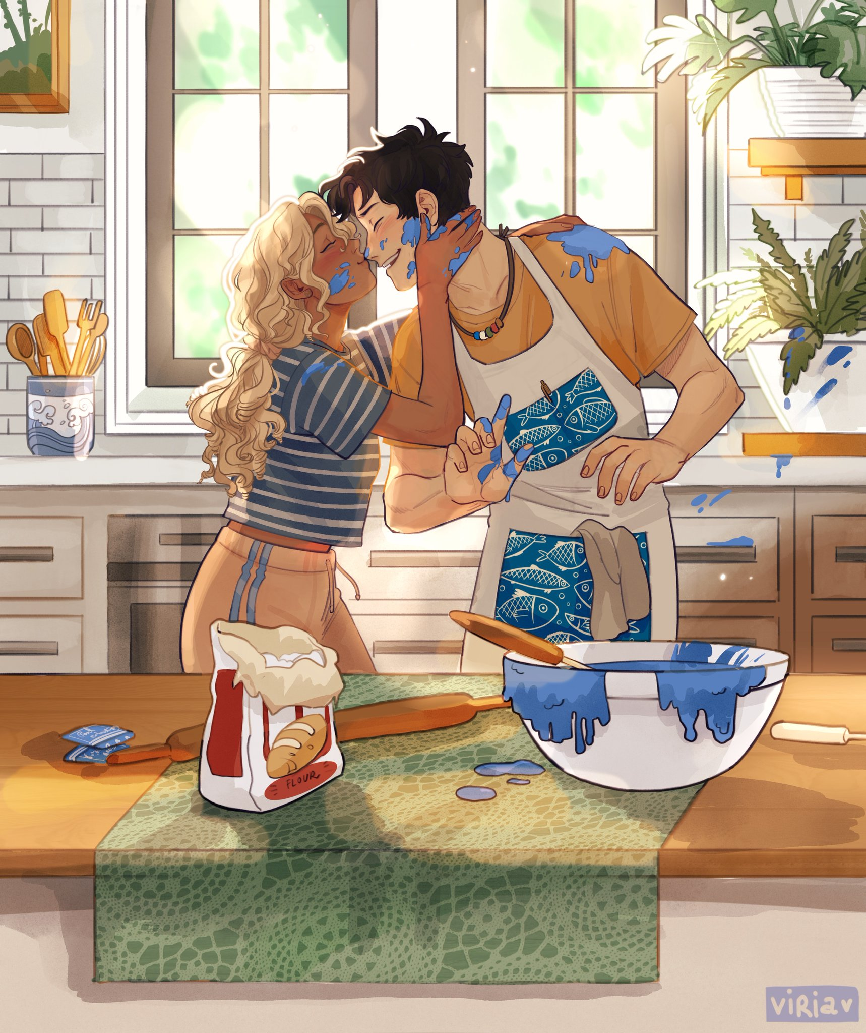 Ilustración de Annabeth Chase y Percy Jackson, por Viria (viria94 en Instagram).