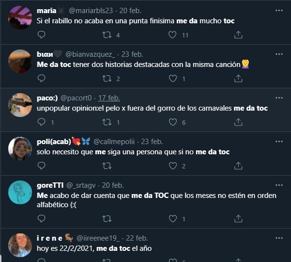 "Captura de varios tweets que utilizan la frase ""me da toc"""